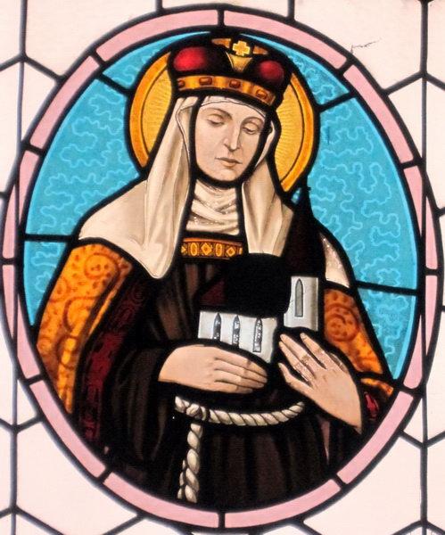 Svatá Anežka v okně kostela v Předbořicích
